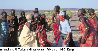 Dancing with Turkana village women. February 1997, Kenya